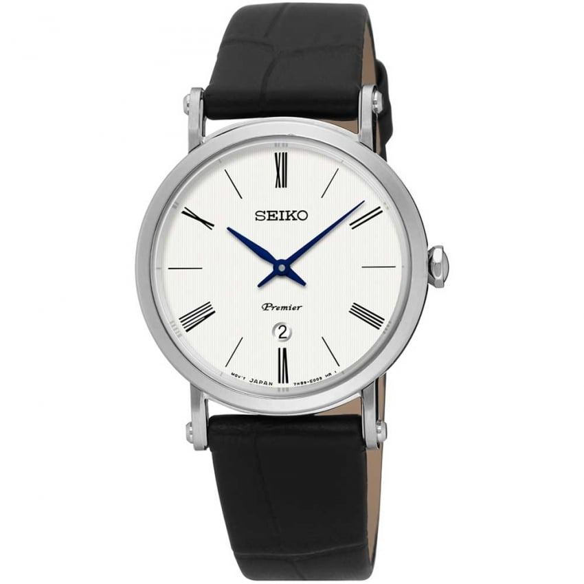 Seiko Ladies Premier Black Leather Quartz Watch SXB431P1
