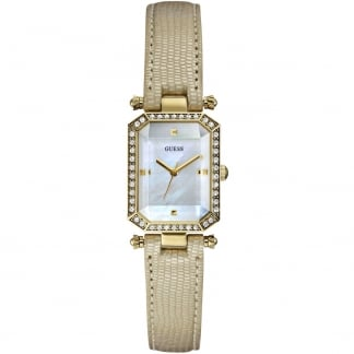Ladies Proposal Cream Leather Crystal Set Watch