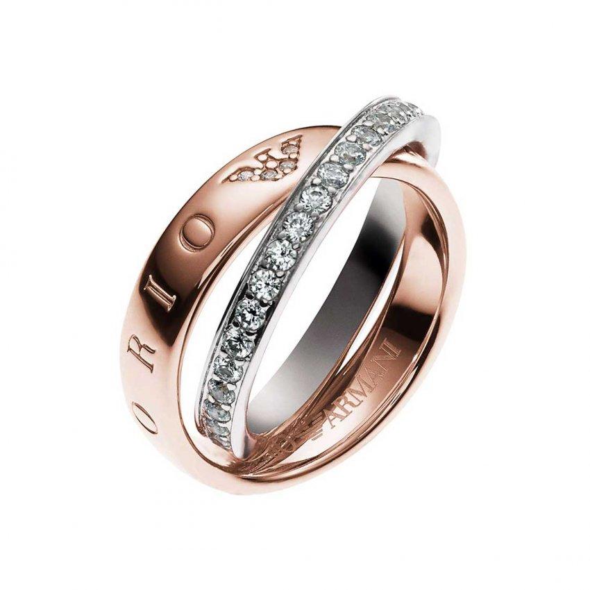 Emporio Armani Ladies Pure Eagle Circles Two Tone Ring EG3123221