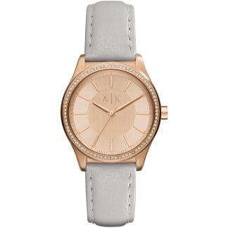 Ladies PVD Rose Plated Grey Strap Watch