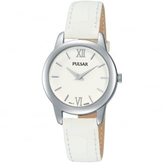 Ladies Quartz White Leather Strap Watch