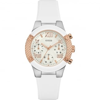 Ladies Rockstar White Silicone Chronograph Watch