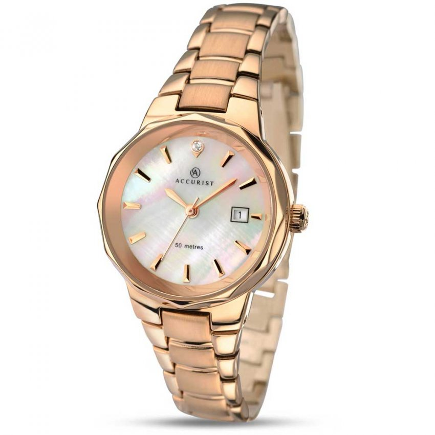 Accurist Ladies Rose Gold Bracelet Watch With MOP Dial 8020