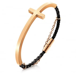 Ladies Rose Gold and Black Carma Bracelet