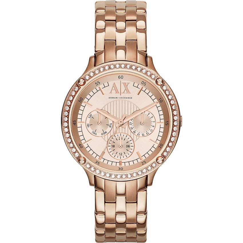 Armani Exchange Ladies Rose Gold Crystal Set Watch AX5406