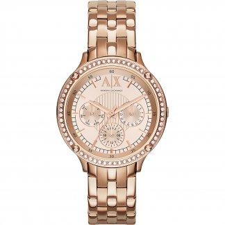 Ladies Rose Gold Crystal Set Watch AX5406