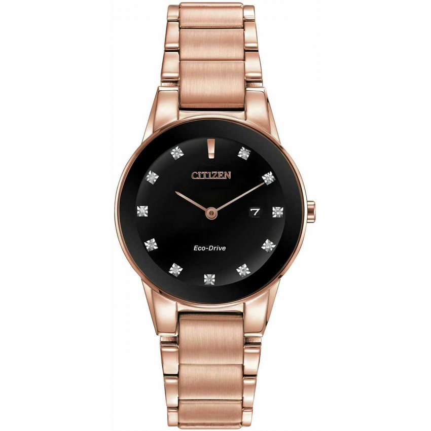 Citizen Ladies Rose Gold Axiom Black Diamond Dial Watch GA1058-59Q