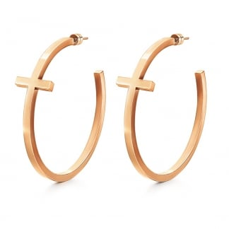 Ladies Rose Gold Carma Earring Hoops