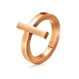 Ladies Rose Gold Carma Ring (Size 54)