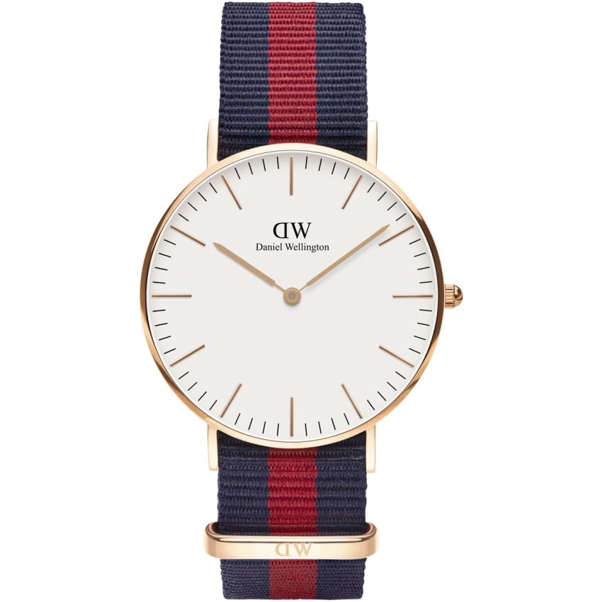 Daniel Wellington Ladies Rose Gold Classic Oxford 36mm Nato Strap Watch 0501DW