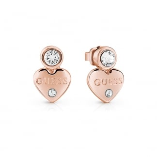 Ladies Rose Gold Crystal 'Guessy Heart' Earrings