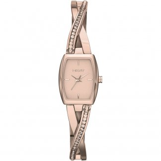 Ladies Rose Gold Stone Set Crosswalk Bangle Watch NY2238