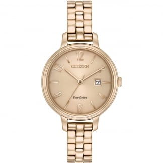 Ladies Rose Gold Eco-Drive Silhouette Watch