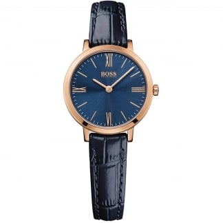 Ladies Rose Gold Jillian Navy Leather Strap Watch