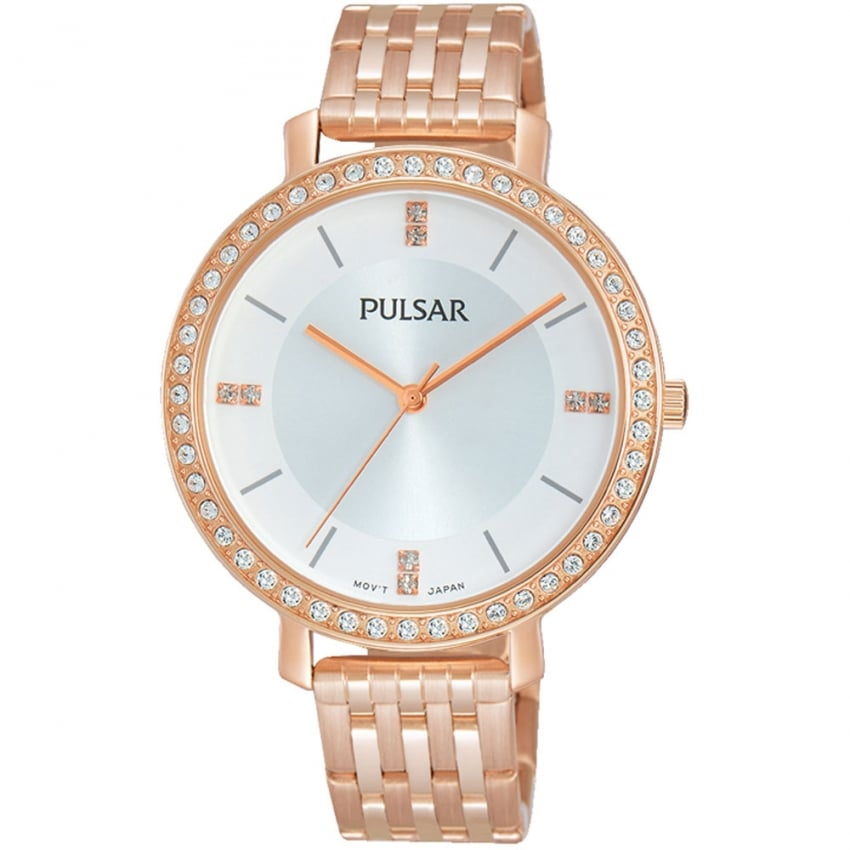 Pulsar Ladies Rose Gold Large Dial Swarovski Crystal Watch PH8160X1