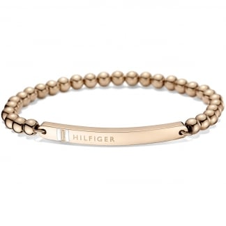 Ladies Rose Gold Mini Ball ID Bracelet
