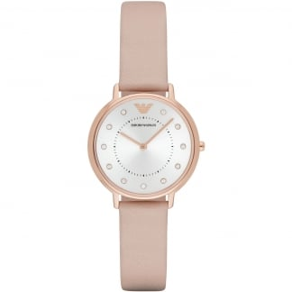 Ladies Rose Gold MoP Diak Pink Leather Watch