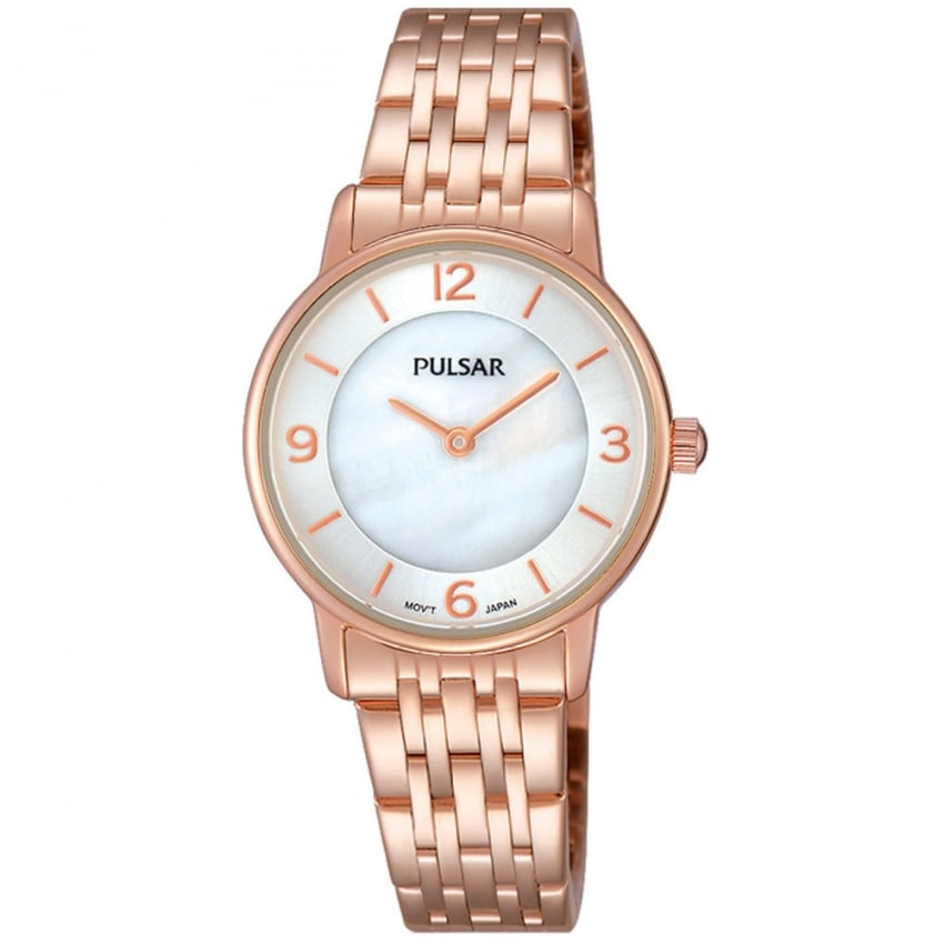 Pulsar Ladies Rose Gold Mother of Pearl Dial Watch PRW028X1