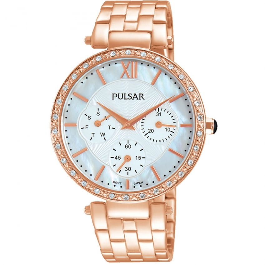 Pulsar Ladies Rose Gold Mother of Pearl Multifunction Watch PP6214X1