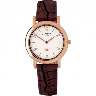Ladies Rose Gold Noble Slim Leather Watch