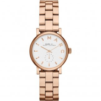 Ladies Rose Gold Plated Mini Baker White Dial Watch