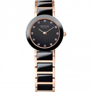 Ladies Rose Gold PVD & Black Ceramic Swarovski Set Watch