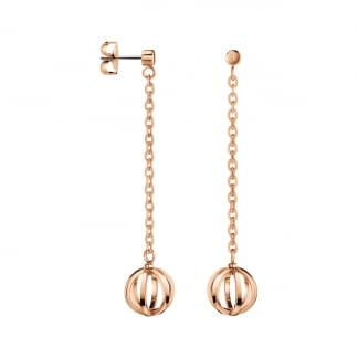 Ladies Rose Gold 'Show' Cage Drop Earrings
