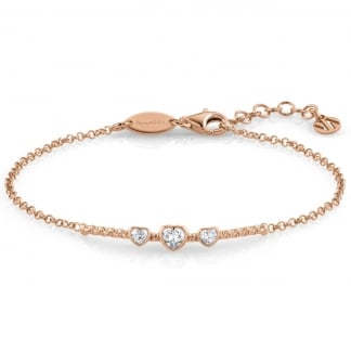 Ladies Rose Gold Stone Set Heart Bella Bracelet