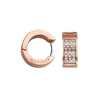 Ladies Rose Gold Stone Set Huggie Earrings