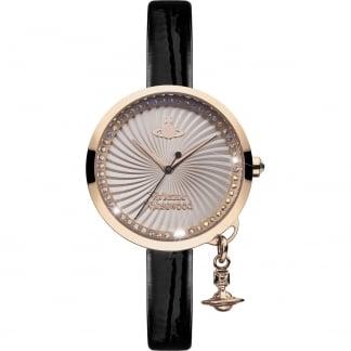 Ladies Bow Rose Gold PVD Black Strap Watch VV139RSBK