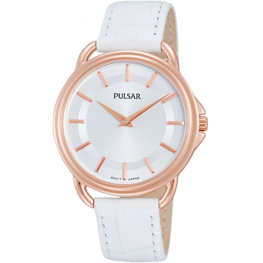 Ladies Rose Gold with White Leather Strap Watch PM2104X1