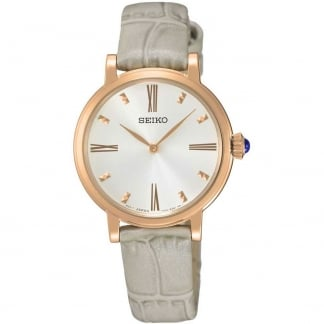 Ladies Rose Tone Quartz Grey Leather Strap Watch