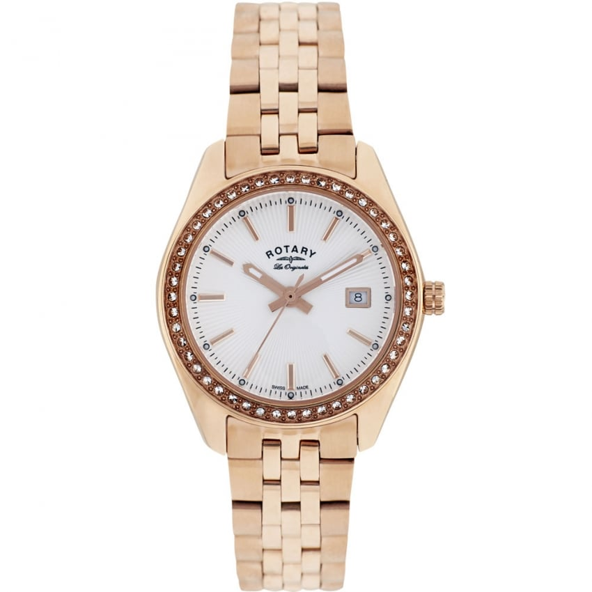 Rotary Ladies Lucerne Rose Gold Stone Set Watch LB90112/01