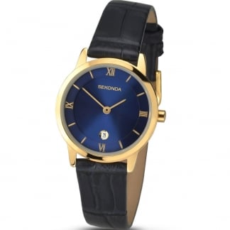 Ladies Black Leather Blue Dial Watch 2197