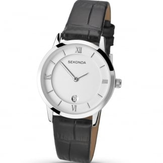 Ladies Black Leather Strap Watch With Date 2289