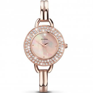 Ladies Glitzy Rose Gold Bangle Watch 4224