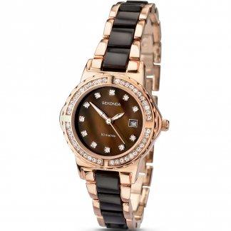Ladies Rose Gold & Acrylic Stone Set Watch 4892