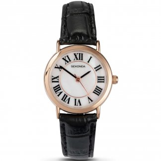 Ladies Rose Gold Plated Classic Strap Watch