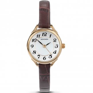 Ladies Rose Plated Slim Leather Strap Watch
