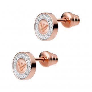 Ladies Signature Rose Plated CZ Studs