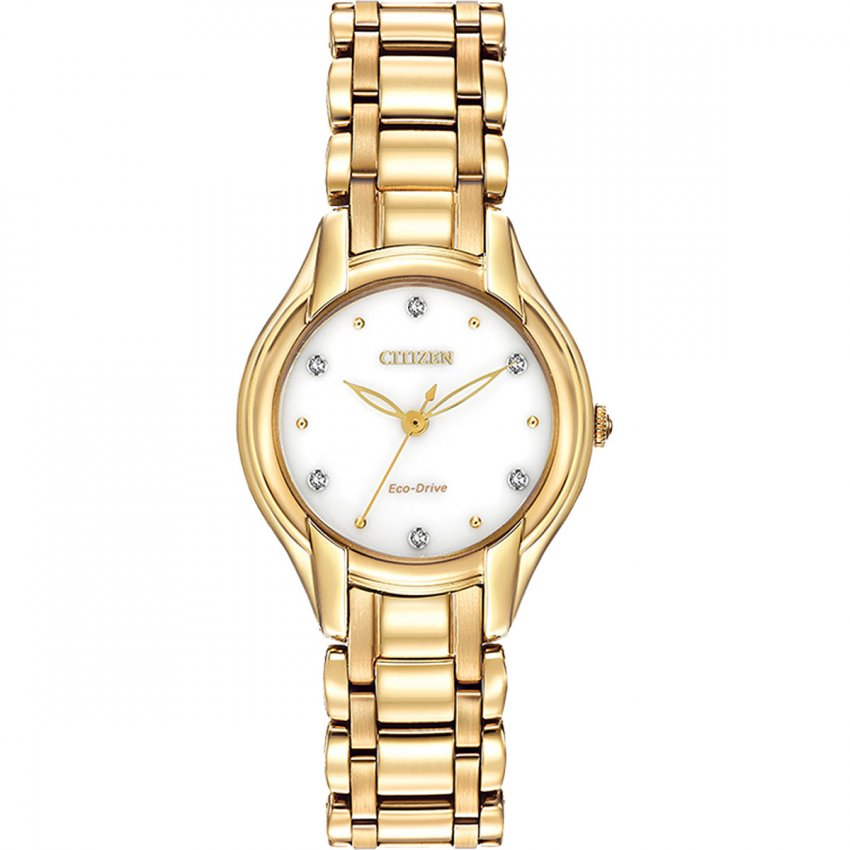 Citizen Ladies Silhouette Diamond Gold Bracelet Eco-Drive Watch EM0282-56A