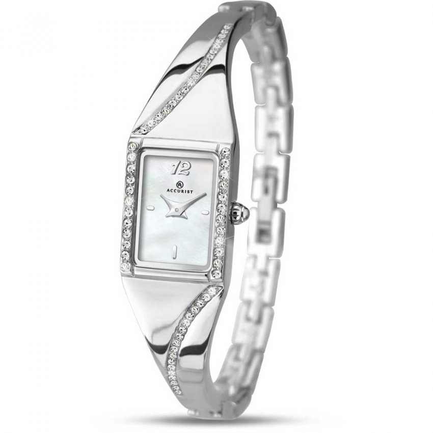 Accurist Ladies Silver Tone Stone Set Dress Watch 8021