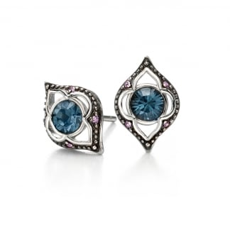 Ladies Silver and Blue Swarovski Earring Studs