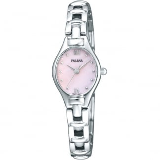 Ladies Silver and Pink Mother of Pearl Dial Watch