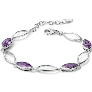 Ladies Silver and Purple Marquise Linked Bracelet