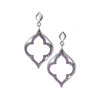 Ladies Silver and Purple Stone Set Open Leaf Earring Drops