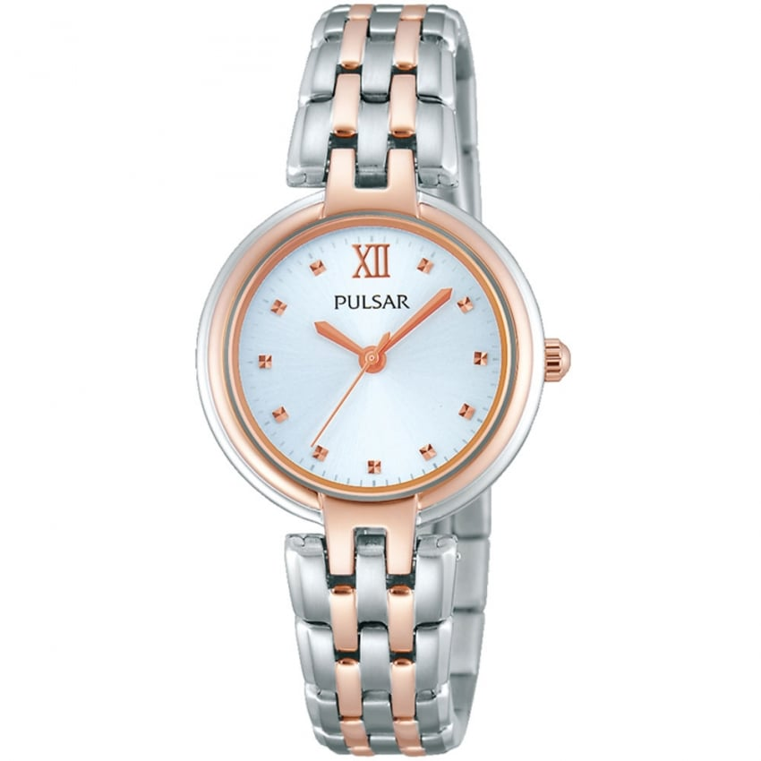 Pulsar Ladies Silver and Rose Gold Dress Watch PH8116X1