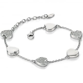Ladies Silver and Stone Set Heart Station Bracelet