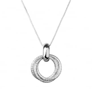 Ladies Silver Aurora Cluster Necklace