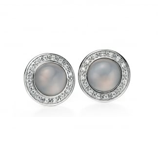 Ladies Silver Chalcedony with Cubic Zirconia Surround Earrings